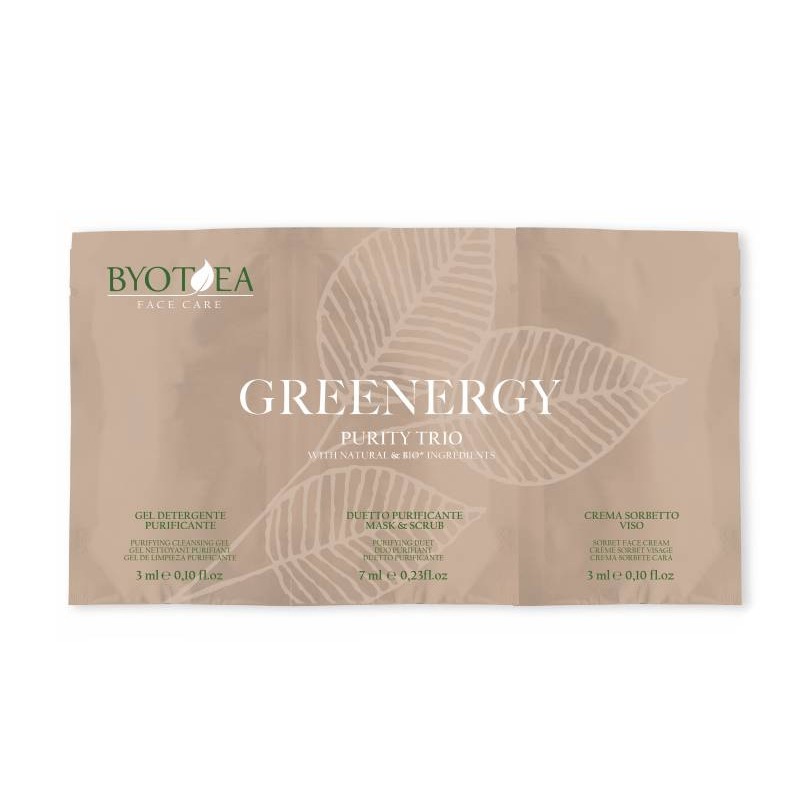 VZOREK Byotea Greenergy Purity Trio - gel 3 ml, scrub maska 7 ml a krém 3 ml